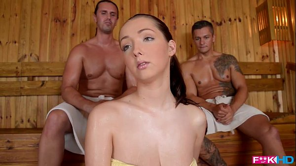 Big Boobs Babe Lucie Wilde hot Fuck with two guys in the Sauna