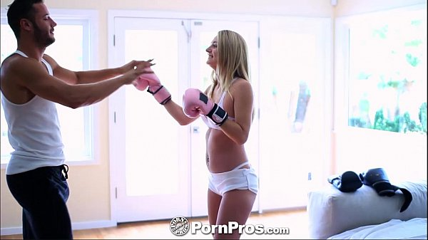 Busty blonde babe spars with a big cock dude x video